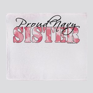 Proud Navy Sister (Pink Butterfly Camo) Throw Blan