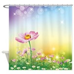 Pink Poppies and Daises Shower Curtain
