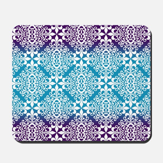 Ombre Purple And Teal Damask Mousepad