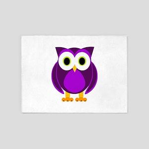 Cute Purple Owl 5'x7'Area Rug