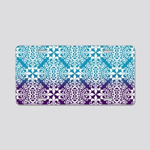 Ombre Purple And Teal Damas Aluminum License Plate