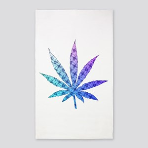 Blue To Violet Marijuana Leaf Art 3'x5' Area Rug