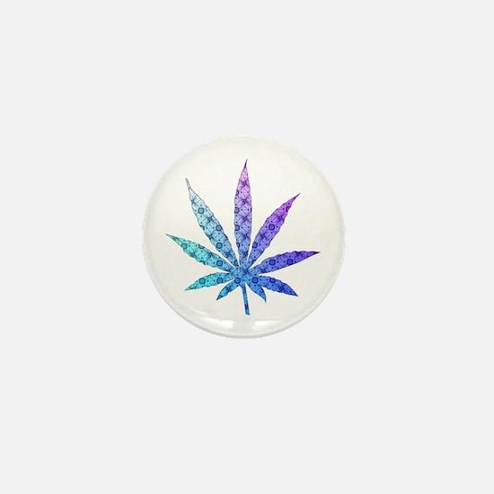 Blue To Violet Marijuana Leaf Art Mini Button