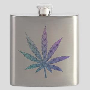 Blue To Violet Marijuana Leaf Art Flask