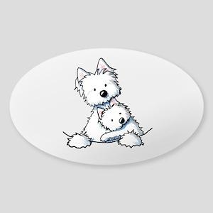 Westie Hug Sticker (Oval)