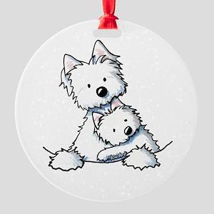 Westie Hug Round Ornament