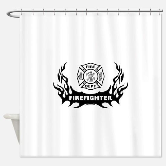 Firefighter Tattoo Shower Curtain