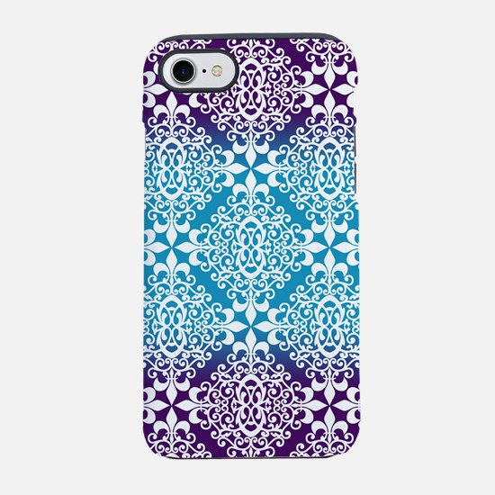 Ombre Purple And Teal Damask iPhone 7 Tough Case