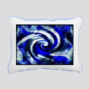 Mod Blue Swirl Rectangular Canvas Pillow