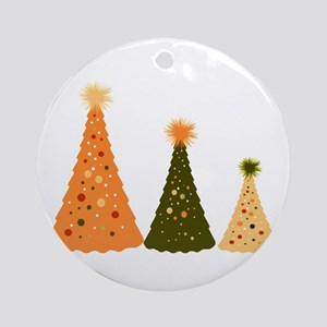 Christmas Trees Of Color and  Ornament (Round)