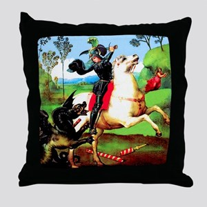 St. George Fighting Dragon Throw Pillow
