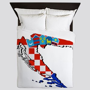 Flag Map of Croatia Queen Duvet