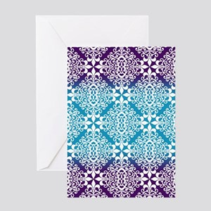 Ombre Purple And Teal Damask Greeting Cards