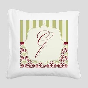 Burgundy and Gold Stripe Damask Monogram Square Ca