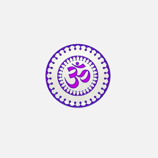 Ornate Om Smybol Purple Mini Button