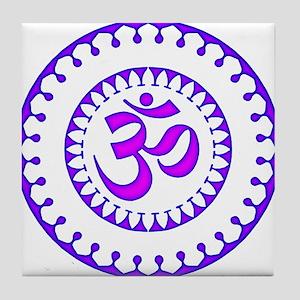 Ornate Om Smybol Purple Tile Coaster