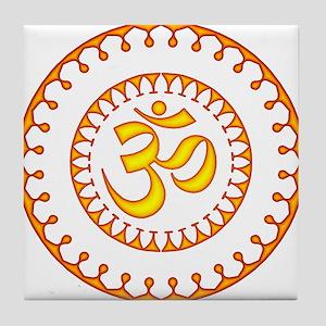 Ornate Om Smybol Orange Tile Coaster