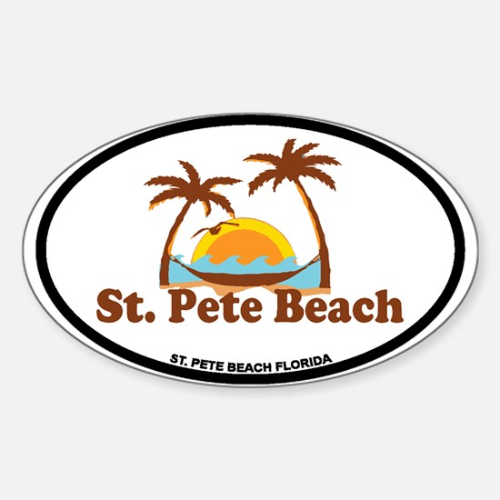 Boca Grande - Palm Trees Design. Sticker (Oval)