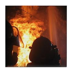 Firefighter Flashover Tile Coaster