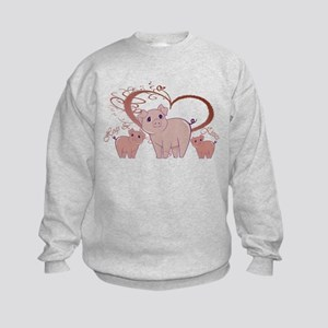 Hogs and Kisses Cute Piggies art Sweatshirt