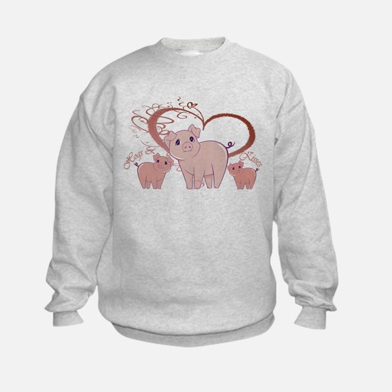 Hogs and Kisses Cute Piggies art Sweatshirt
