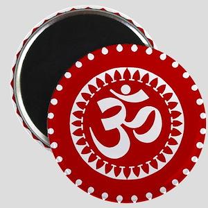 Ornate Om Red Magnet