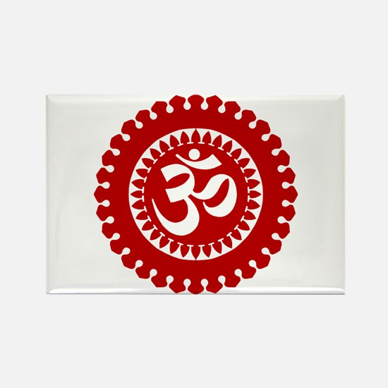 Ornate Om Red Rectangle Magnet (100 pack)