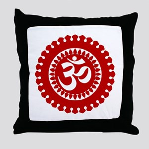 Ornate Om Red Throw Pillow