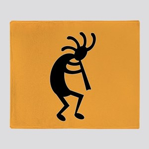 Yellow And Black Kokopelli Throw Blanket