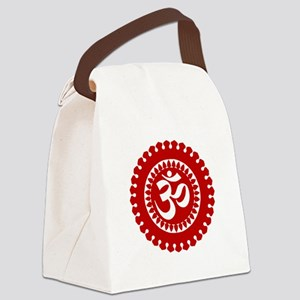 Ornate Om Red Canvas Lunch Bag