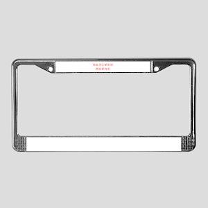 retired-nurse-kon-red License Plate Frame