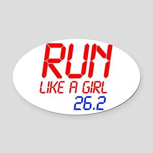run-like-a-girl-lcd Oval Car Magnet