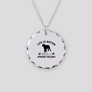 Life is better with Spinone Italiano Necklace Circ