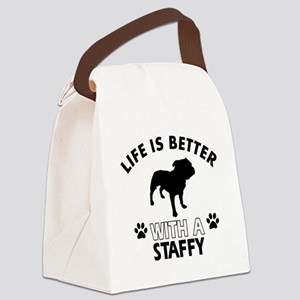Life is better with Staffy Canvas Lunch Bag