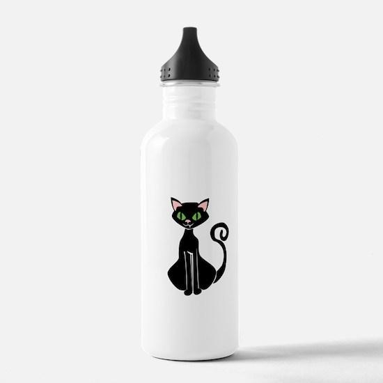 Retro Black Cat Water Bottle