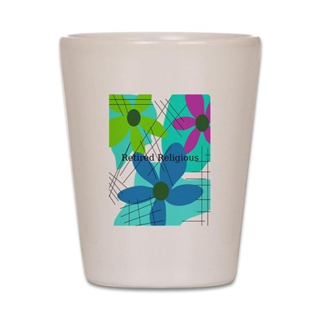 retired religious 6 floral Shot Glass