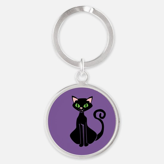Retro Black Cat Round Keychain