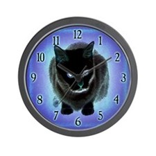 Black Cat Blue Wall Clock