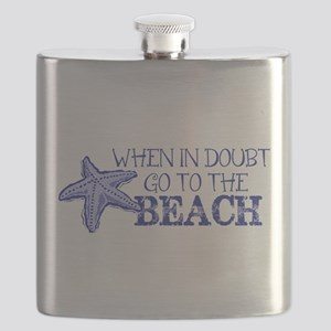 When In Doubt Go To The Beach Flask