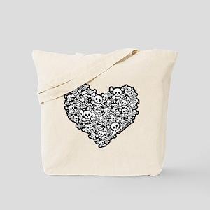 Emo Skull Hearts Tote Bag