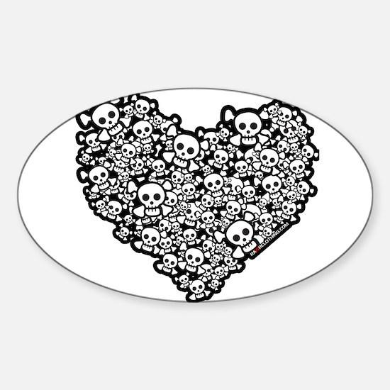 Emo Skull Hearts Sticker (Oval)
