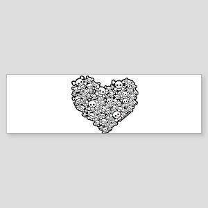 Emo Skull Hearts Sticker (Bumper)