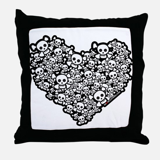 Emo Skull Hearts Throw Pillow