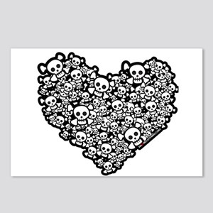 Emo Skull Hearts Postcards (Package of 8)