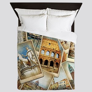 Italy Photo Collage Queen Duvet