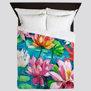 Water Lily Oil Painting Queen Duvet