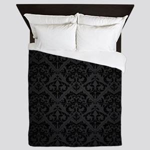 Elegant Black Flourish Queen Duvet