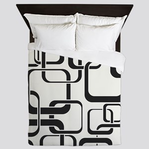 Black and White Retro Queen Duvet