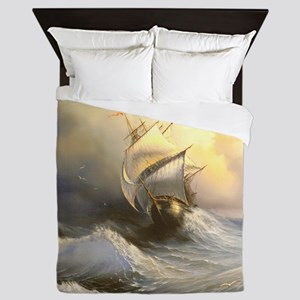 Vintage Sailboat Painting Queen Duvet