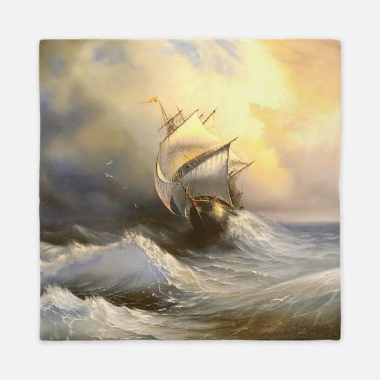 Vintage Sailboat Painting Queen Duvet
